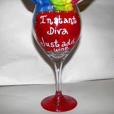 hand painted diva wine glasses hand