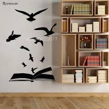 Creative Home Decor Open Book Flock Of Birds Learning Library Stickers Vinyl Art Wall Decal Literature Reading Room Office Sk02 Wall Decals Home Decorart Wall Aliexpress