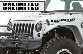 Amazon Com Oracal 2pc Hood Decals 2 5 X 22 Unlimited Set Decal Sticker Compatible With Jeep Wrangler Rubicon Jk Black Automotive