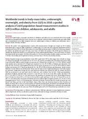 Munin: Worldwide trends in body-mass index, underweight, overweight, and  obesity from 1975 to 2016: a pooled analysis of 2416 population-based  measurement studies in 128·9 million children, adolescents, and adults