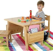 Amazon Com Kids Study Table Solid Wood Children S Tables And Chairs Children S Room Toys Game Desk Can Withstand 200kg Weight Color Brown Furniture Decor