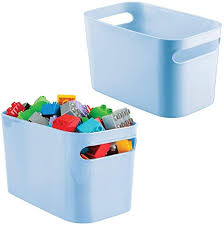 Amazon Com Mdesign Plastic Toy Box Storage Organizer Tote Bin With Handles For Child Kids Bedroom Toy Room Playroom Holds Action Figures Crayons Building Blocks Crafts 10 Inches 2 Pack Light Blue