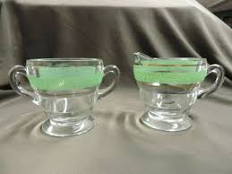 vintage kent glass creamer and sugar