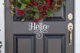 Ornamental Hello Vinyl Decal Hello Vinyl Sticker Hello Etsy In 2020 Door Decals Front Door Decal Hello Door Decal