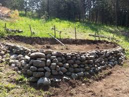 garden terrace and lower rock retention
