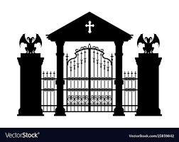 Black Silhouette Of Gothic Cemetery Gate Vector Image