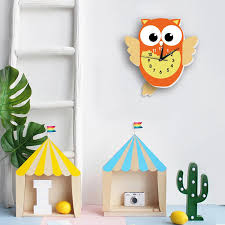 Lovely Cartoon Owl Pendulum Clock Wall Stickers Fancy Watch Creative Baby Children Gift For Kid Room Nursery Hanging Clock Decal Wall Clocks Aliexpress