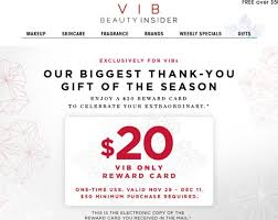 sephora vib reward cards 20 off 50