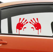 1 Right 1 Left Zombie Window Bumper Sticker Car Hand Print Decal Set Of Each