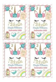 Kit Imprimible Tarjetas Invitacion Cumpleanos Unicornios A4