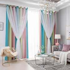 Blackout Star Curtains Stars Blackout Curtains For Kids Girls Bedroom Living Room Colorful Double Layer Star Window Curtains Curtains Aliexpress