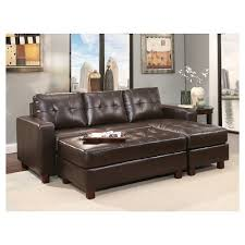 taylor leather sectional and ottoman