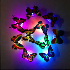 3d Butterfly Design Decal Art Fridge Magnets Colorful Changing Butterfly Led Night Light Lamp Home Room Party Desk Wall Decor Wall Stickers Aliexpress