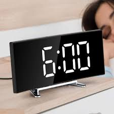 Hot Promo 4e3e3 Digital Alarm Clock 7 Inch Curved Dimmable Led Sn Digital Clock For Kids Bedroom White Large Number Clock Snooze Function Cicig Co