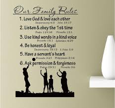 Amazon Com Our Family Rules Love God And Love Each Others Listen And Obey The Fist Time Vinyl Wall Art Inspirational Quotes Decal Sticker Home Kitchen