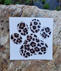 Leopard Print Dog Paw Vinyl Decal Car Window Decal Laptop Etsy