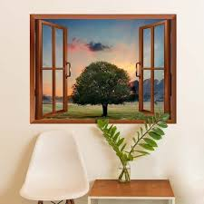 Shop Tree In Sunset Removable Wall Sticker Inside Window Wall Vinyl On Sale Overstock 17801876