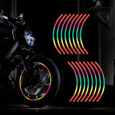 Amazon Com Tomall 17 Reflective Wheel Rim Stripe Decal For Motorcycle Wheels Car Cycling Bike Bicycle Night Reflective Safety Decoration Stripe Universal Rim Reflective Stickers Colorful Automotive