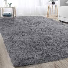 Amazon Com Soft Modern Indoor Large Shaggy Rug For Bedroom Livingroom Dorm Kids Room Home Decorative Non Slip Plush Fluffy Furry Fur Area Rugs Comfy Nursery Accent Floor Carpet 5x8 Feet Grey Home