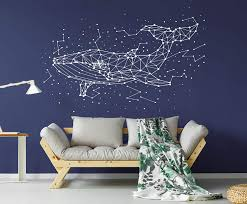 Amazon Com Whale Stars Constellation Wall Decal Fish Stars Wall Sticker Sky Wall Art C14 Home Kitchen