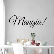 Vwaq Mangia Wall Decal Eat Kitchen Sticker Italian Quotes Decor