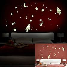 Space Ship Stars Fluorescent Dot Glow In The Dark Stickers Wall Decals Home Art Decor Decal Vinyl Wall Stickers Glow In The Dark Space Themed Room Star Bedroom