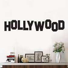 Amazon Com Vinyl Wall Art Decal Hollywood Sign 6 X 30 Trendy Inspirational Optimistic Good Vibes Travel Quote Home Bedroom Playroom Living Room Office Coffee Shop Travelers Decor Arts Crafts