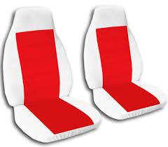front white and red velvet seat covers