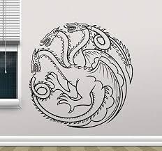 Amazon Com Targaryen Logo Wall Decal Dragons Game Of Thrones Vinyl Sticker Khaleesi Fantasy Movie Wall Art Design Housewares Kids Room Bedroom Decor Removable Wall Mural 3sx64z Home Kitchen