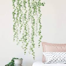 Amazon Com Supzone Vine String Of Pearls Wall Stickers Green Tree Leaf Wall Decal Removable Living Room Bedroom Sofa Backdrop Tv Wall Art Decor Kitchen Dining