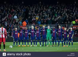 Barcellona, Spagna - 24 febbraio: FC Barcelona team durante la Liga match  tra FC Barcelona v Girona a stadio Camp Nou a Barcellona il 24 febbraio,  2018. Cordon premere Foto stock - Alamy