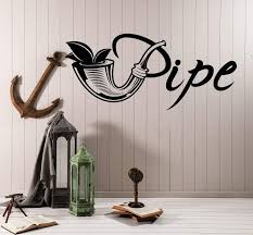 Vinyl Wall Decal Tobacco Shop Logo Pipe Smoking Smoke Stickers Unique Wallstickers4you