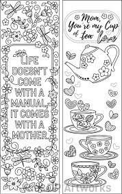 Set Of 8 Coloring Bookmarks For Mom Gift Bookmarks On Mother S