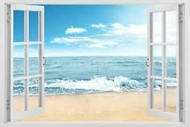 3d Window Ocean Beach Wave Wall Art Sticker Mural Decal Decor Seascape W107 Ebay