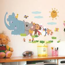 Vova Cartoon Animals Removable Wall Stickers Animals Wall Sticker Home Decor Nursery Decal For Kids Room Decal