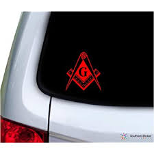 Amazon Com Southern Sticker Company Freemason Masonic Lodge Symbol 3 9x4 2 Inches Size Laptop Car Window Truck Made And Shipped In Usa Red Automotive