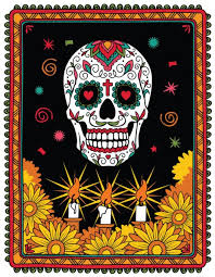 ᐈ sugar skull wallpaper border stock