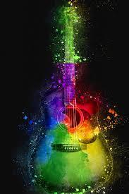 multicolored single cutaway guitar