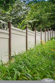 V3706 Style Stepped Victorian Picet Top By Illusions Vinyl Fence In Grand Illusions L102 Tan And Posts In L106 Brown Grand Illusions Colors Pro Fence Supply
