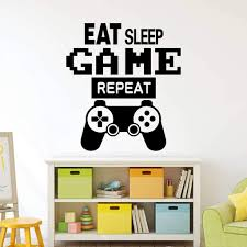 Amazon Com Gamer Controller Wall Decal Eat Sleep Repeat Quote Diy Game Wall Stickers Controller Video Game Wall Decals For Kids Bedroom Living Room Vinyl Wall Art Decals Eat Sleep Game Repeat Arts