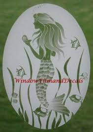 Mermaid Etched Window Decal Vinyl Glass Cling 8 X 12 By Vei 14 95 Removable And Reusable Non Adhesive Glass Window Decals Tropical Decor Window Decals