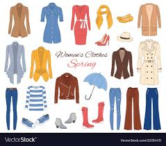Women clothes collection spring outfit Royalty Free Vector