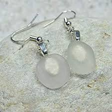frosted white sea glass earrings