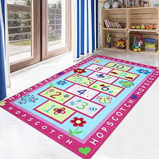 Amazon Com Livebox Hopscotch Kids Play Mat 3 X 5 Playroom Area Rug Soft Flannel Children Carpet Great For Educational Fun With Toys Throw Rug For Living Room Bedroom Nursery Best Shower