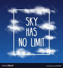 sky has no limit quote abstract clouds vector image