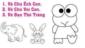 Hướng Dẫn Vẽ Và Tải Tranh Tô Màu Chú Ếch Con, Thỏ Trắng, Voi Con - YouTube