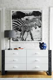 Zebra Photography Art Over Black And White Dresser Contemporary Boy S Room