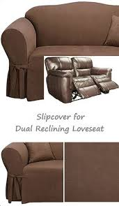 dual reclining loveseat slipcover suede