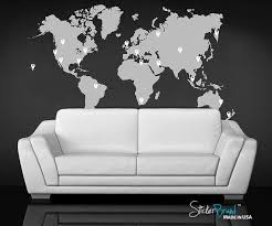 Amazon Com Stickerbrand World Map Wall Decal Sticker W 224 Pins Grey Map W Red Black White Grey Pins 40in X 70in Arts Crafts Sewing