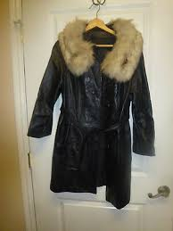 black leather coat with fur collar